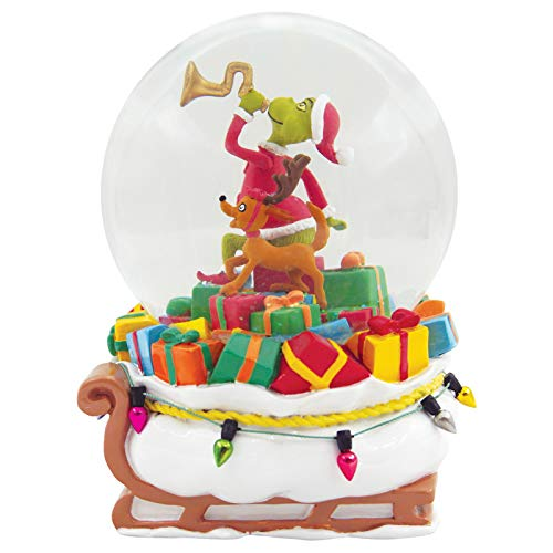 Department 56 Dr. Seuss The Grinch Delivering Gifts Waterball, 5.9 Inch, Multicolor