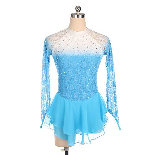 HYQW Eiskunstlauf Kleid Erwachsene Kinder Performance-Kleidung Handgefertigte Benutzerdefinierte Wettbewerb Prüfung Rock Farbverlauf Spitze Langarm Skating Rock,Blue-XL