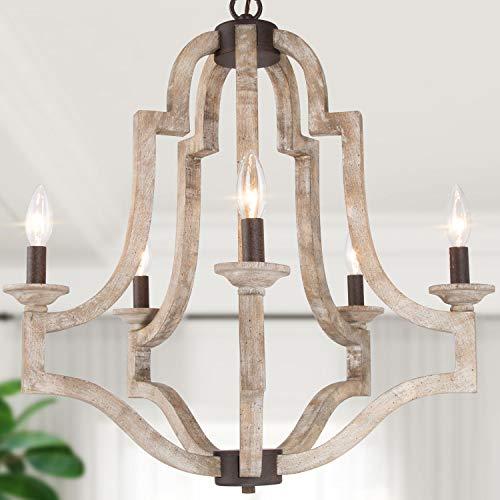 "LOG BARN Farmhouse Chandelier, Wood Chandelier Lighting for Kitchen Island, Dining Room, 5-Light, 23"" W"