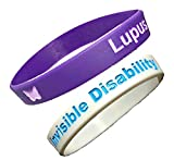 Lupus and Invisible Disability Awareness Bracelets Adult Size Silicone Purple and White Wristbands Autoimmune Medical