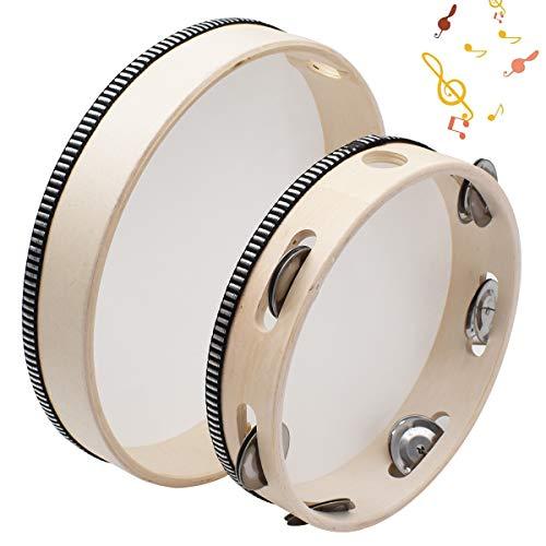 Qixuer 2 Piezas Tambor Pandereta Madera,Pandereta de Metal Jingle Juguetes Adecuada Instrumento Musical para Niños Adultos Aulas Regalos Fiestas y KTV (10 pulgadas y 8 pulgadas)