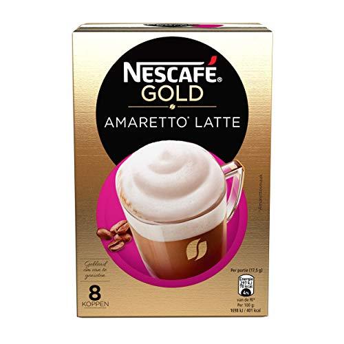 Nescafé Gold Amaretto Latté oploskoffie - 6 doosjes met 25 sticks
