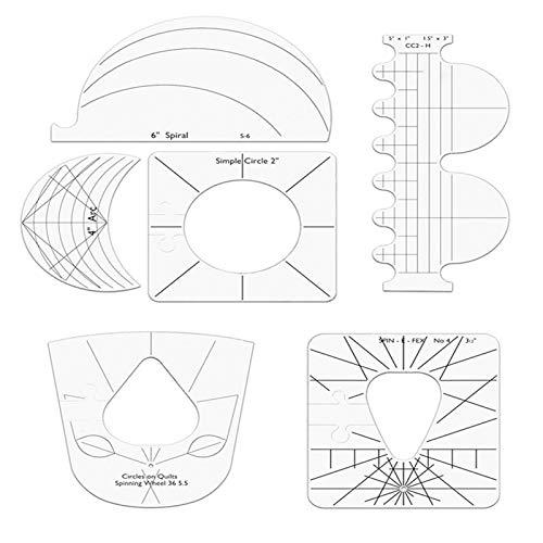 Wenhe 6 reglas para colchas de acrílico templado, para máquina de coser para cortar fácilmente