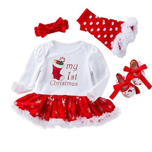 YuanDian Bebè Bambina 4Pcs Natale Costume Completini Set Partito Vestiti Neonato Battesimo Babbo Natale Abbigliamento Natalizio Tutina Abiti + Fascia + Leggings Caldo + Scarpa 1# Calzino 0-3 Mesi