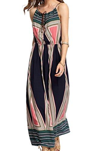 Ayliss Women's Spaghetti Strap Stretch Tunic Waist Bohemian Maxi Dress Beach Dress,#2 L