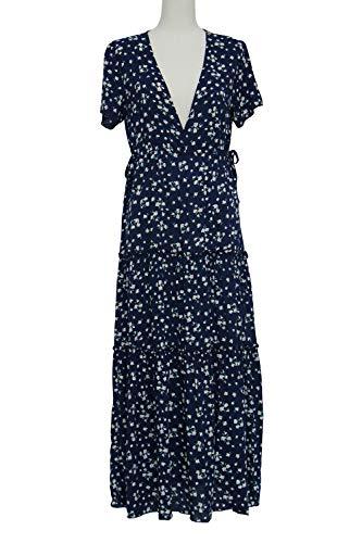 fuxiste Vestido de mujer estampado floral primavera verano profundo cuello en V manga corta fiesta playa Maxi vestido largo falda bohemio vestido