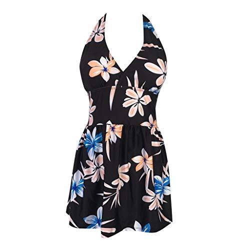 Cloodut - Bikini para Mujer con diseño Deportivo y Cuello en V para Mujer Negro L