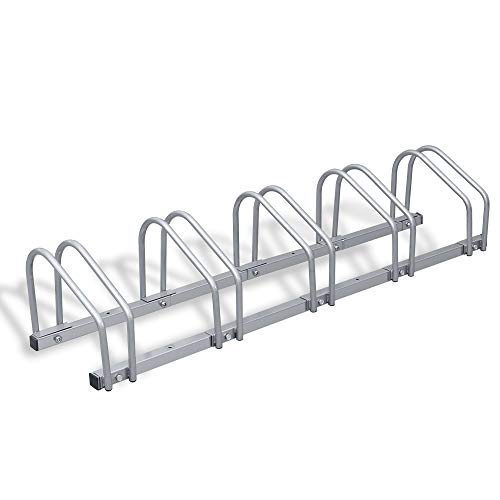 wolketon Fahrradständer Für 5 Fahrräder Boden- und Wandmontage Stahl verzinkt 130 x 32 x 26 cm