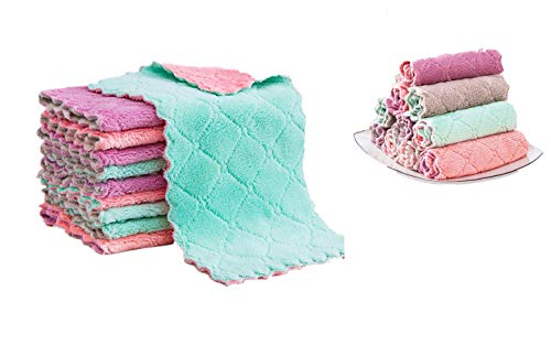 Sunlisky Colorful super absorbent microfiber kitchen cloth dish towel insulation cloth, a set of 10 (25CM×25CM), suitable for cleaning sink, non-stick pans and other kitchen utensils, bathroom and car