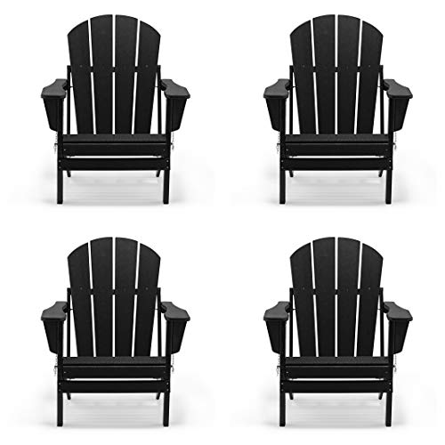 WestinTrends Folding Adirondack Chairs Furniture Outdoor Seating Weather Resistant for Patio, Balcony, Garden, Backyard, Deck, Lawn, Poolside, Porch Lounger(Set of 4), Black