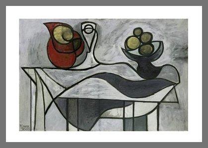 Germanposters Pablo Picasso Krug und Obstschale hochwertiger Kunstdruck Bild limitiert im Alu Rahmen in Champagne 80x60cm