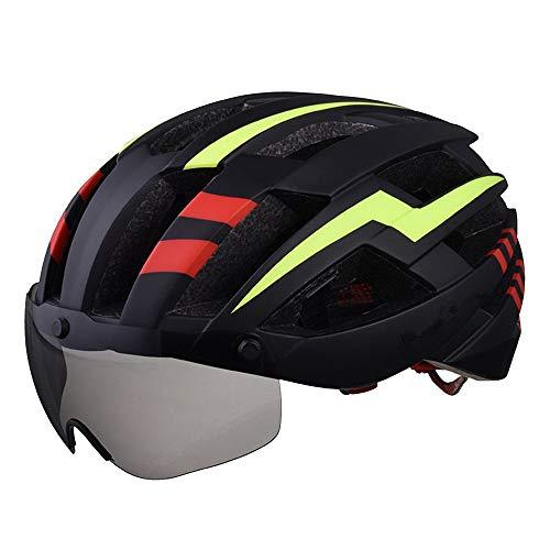 AJJ Negro y Amarillo Ciclismo Casco de Bicicleta Gafas magnéticas Carreras de Carretera Ligero Gorra de Seguridad a Prueba de Golpes Diseño aerodinámico Equipo de Bicicleta · Redes de Insectos