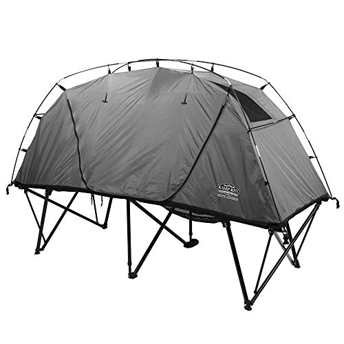 Kamp-Rite CTC XL Compact Collapsible Sleeping 3 in 1 Tent Cot for 1 Person with Roller Storage Bag, Quick and Easy Setup, Gray