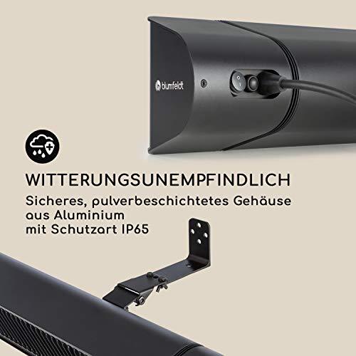 blumfeldt Gold Fever Smart • Infrarot-Heizstrahler • Terrassenheizstrahler • 2000 W • 6 Wärmestufen • Infrarot • Bluetooth • App-Control • bis 20 m² • inkl. Fernbedienung und Wandhalterung • schwarz - 9