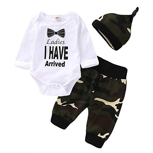 Edjude Bekleidungssets für Baby-Jungen Strampler T-Shirt Langarm Hose Bodys Kleidung Set Tarnung mit Hut Herbst 3-6 Monate