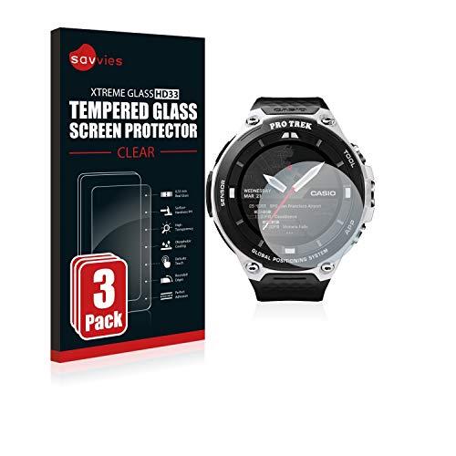 Savvies Panzerglas kompatibel mit Casio Pro Trek Smart WSD-F20 (3 Stück) - Echt-Glas, 9H Festigkeit, Anti-Fingerprint
