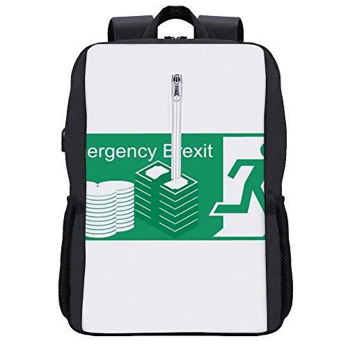 Notfall Brexit Fire Escape Schild Rucksack Daypack Bookbag Laptop Schultasche mit USB-Ladeanschluss