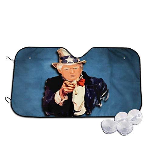 GFHTH Onkel Donald Trump Windschutzscheibe Sonnenschirme Auto Sonnenschirme Faltbare Sonnenschirme Visierschild Abdeckung mit Saugnäpfen, Auto Windschutzscheibe UV-Strahlenschutz M.