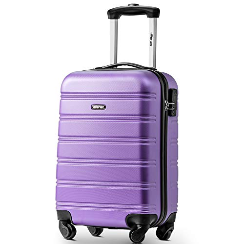 Lightweight ABS Hard Shell Travel Suitcase with 4 Spinner Wheels, Combination Lock, Holdall Cabin Case Trolley Hand Luggage (Purple)