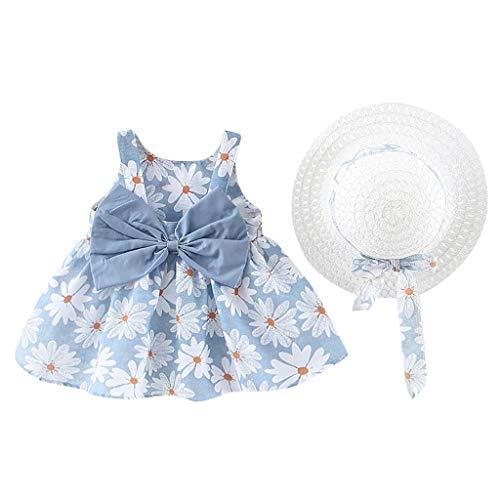 Babykleidung Mädchen Sommer,Covermason Babykleidung Baby Mädchen Kleid Ärmelloses O-Neck-Kleid Blumenschleife Prinzessin Sommerkleider Festes Kleid (Hellblau-Gänseblümchen, 6-12M)