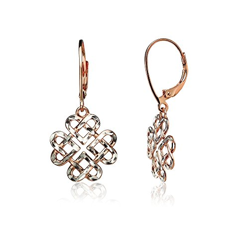 Rose Gold Flashed Sterling Silver Two-Tone Diamond-cut Celtic Heart Love Knot Leverback Earrings