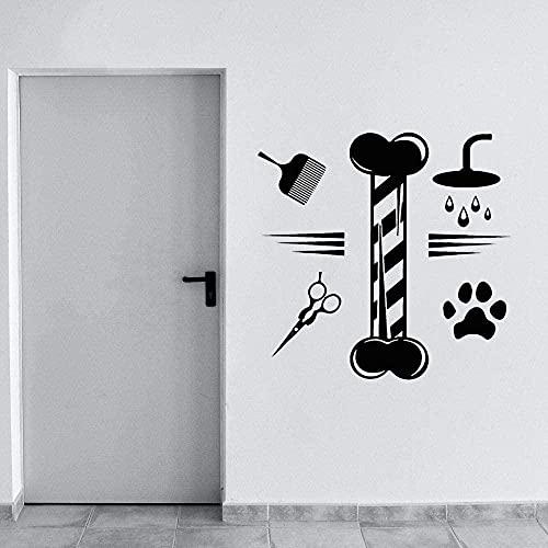 Etiqueta de la pared de PVC removible etiqueta de la pared de aseo de mascotas decoración de hogar y jardín de mascotas 80X77cm