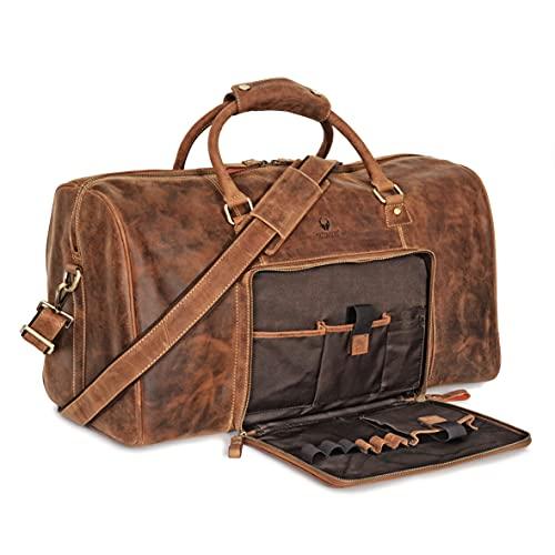 Donbolso Weekender Neapel Braun - XXL Reisetasche aus Leder für Damen und Herren - Echtleder Handgepäck mit Schultergurt - 51 Liter