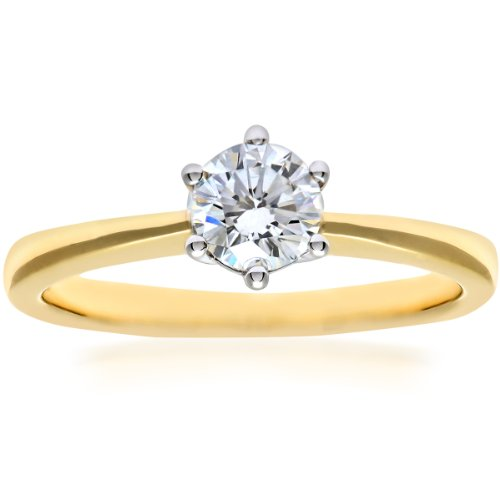 Naava GIA Certified Diamond 18ct Yellow Gold Solitaire Engagement Ring - Size M PR07687Y-G040DVS2-M