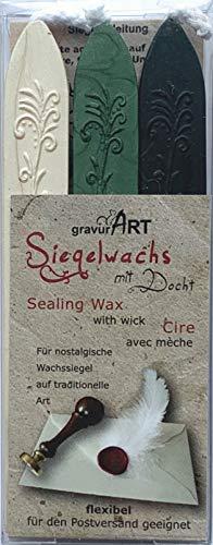 gravurART - Siegelwachs mit Docht - 3 Stangen - Elfenbein - Grün-Perl - Dunkelgrün