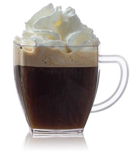 Zappy Square 2 Oz Mini Coffee Espresso Cups Cappuccino Cups Mugs 24 Ct Small Dessert Shot Glasses Espresso Shot Glasses Party Wedding Cups Disposable Plastic Mug (Clear)