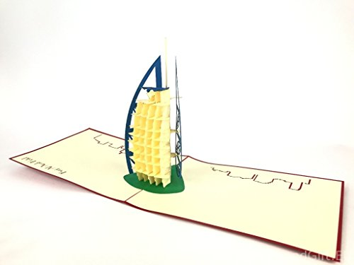Burj Al Arabisches Hotel, Emirate, handgefertigte Kirigami & Origami 3D-Pop-Up-Grußkarten für Geburtstag, Dankeskarten