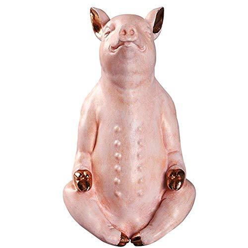 Ybzx Figuras de estatuas de Yoga para el hogar, esculturas de Animales de Cerdo para la Sala de Estar, Adorno de Resina para decoración de Escritorio del hogar, Regalo de cumpleaños, Grande