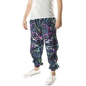 Funny Guy Mugs Neon Paint Splatter Windbreaker Pants, Medium