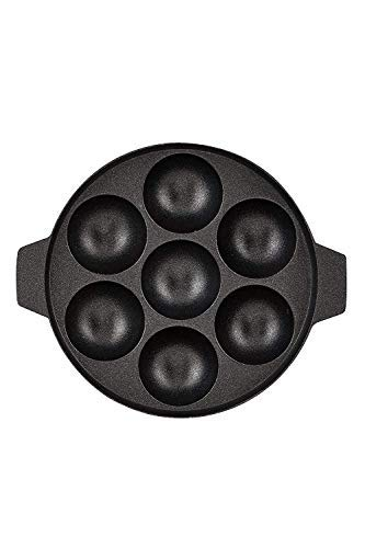 BMS Lifestyle BMS-7KWL Non-Stick 7 Cavity Appam Patra with lid, Black