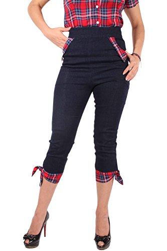 SugarShock Rockabilly High Waist Denim Tartan Caprihose Jeans Karo Capri Hose