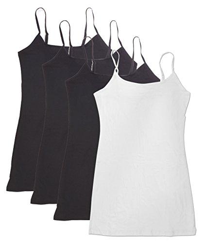 4 Pack Active Basic Women's Basic Tank Top (3X-Bk/Bk/Bk/Wh) Black Crinkle Tank Top