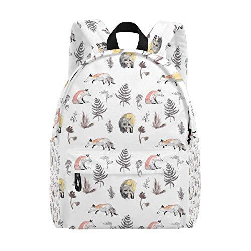 LUPINZ Rucksack Racoon und Fuchs Muster Daypack für Schule oder Arbeit Reisen