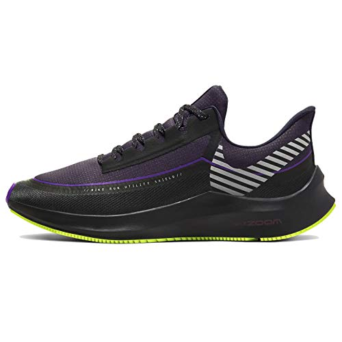 Nike Women's Air Zoom Winflo 6 Shield Running Shoes (Black/Lime/Purple, Numeric_6)