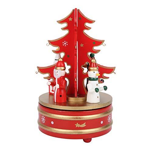 Fockety Decoración navideña, Caja de música portátil de tamaño pequeño, Liviana, Duradera, confiable, Natural y Libre de contaminación, para niños, Regalo Familiar de Navidad(Red)