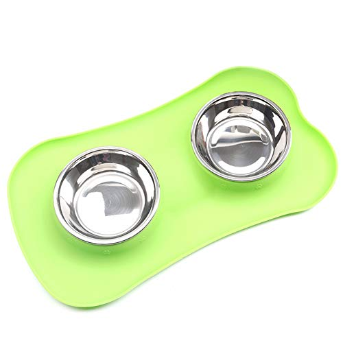 Demarkt hondenmand voedsel waterkop roestvrij staal dubbele NAPF met niet knoeien anti-slip silicone dienblad mat rood 45x26x4,5CM, 36*21*3.5CM, groen x 36 x 21 x 3,5 cm.