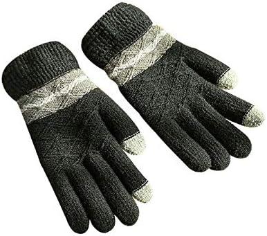 Women's Gloves Knitting Winter Gloves Warmer Colorful Patchwork Full Fingers Glove Mittens Men Guantes Screen Sense Luvas - (Color: Black)