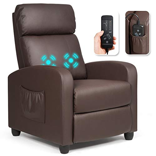 Giantex Recliner Chair for Living Room, Recliner Sofa Wingback Chair w/Massage Function, Padded Seat PU Leather Reclining Chair w/Side Pocket, Home Theater Seating Massage Recliner Easy Lounge (Brown