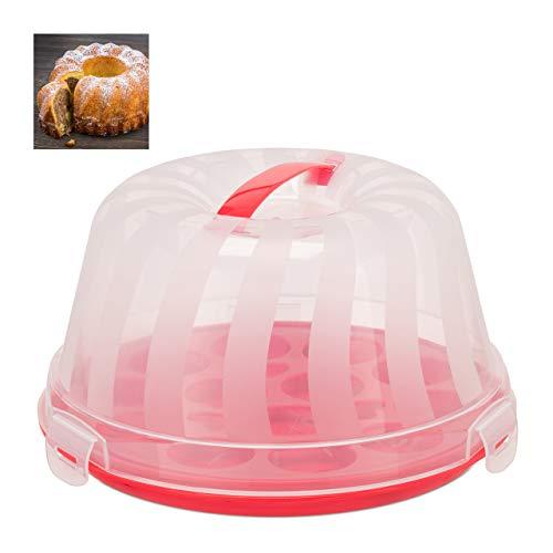 Relaxdays Kuchenbox, rund, Henkel, Gugelhupf, Kuchen & Torten, Muffin Transportbox, HxD 15,5 x 28,5 cm, rot/transparent