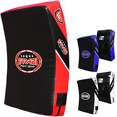 Farabi Sports Quad Curved Strike Shield Training Arm Pad Boxing MMA Muay Thai Kick Boxing Punching Kick Shield Taekwondo Karate Martial Arts (Black Red)