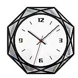 UKtrade® Reloj de pared de estilo nórdico silencioso transparente acrílico para decoración de la sala de estar del hogar
