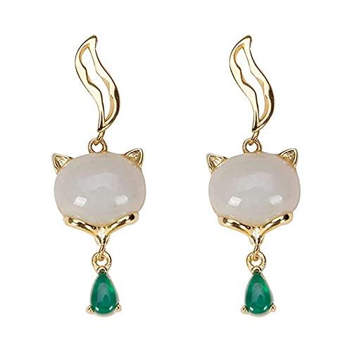 chaosong shop Pendientes de gota de piedras preciosas naturales para mujer, plata de ley 925, chapado en oro, con diseño de zorro