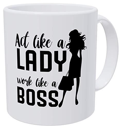 N\A Actúa como una Dama, cumpleaños de Trabajo para Mujeres y jefa Dama Tazas de café de 11 onzas para Mujeres, graduación Impresionante, Mujer Gracias, Hermosa para Mujeres mamá jefa