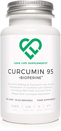Curcumin 95 + Bioperine by LLS | Highest Quality Turmeric Extract containing ONLY CURCUMIN (the active component of Turmeric) with 95% Curcuminoids and Bioperine (black pepper extract) | 500mg x 60 Veg Capsules | Manufactured in UK under BRC Certification