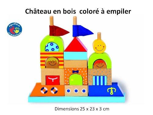 Equilibre et Aventure Chateau en Bois coloré à empiler