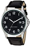 Amazon Essentials Men's Easy to Read Silver-Tone and Black Strap Watch